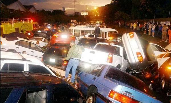 sick and crazy car crash of multi car pile up