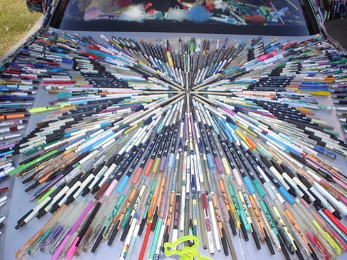 car covered in magic markers, crazy and sick paint job