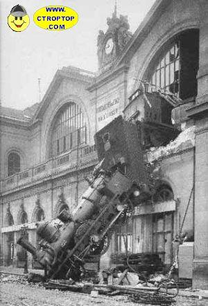 odd train crash, old train crashes into a building