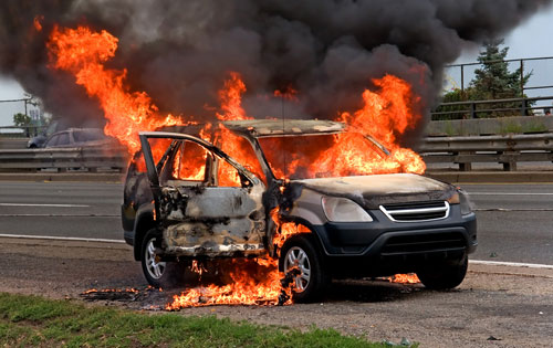 burning car or SUV