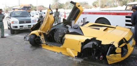 Lamborghini Murcielago Roadster and BMW collide auto wreck