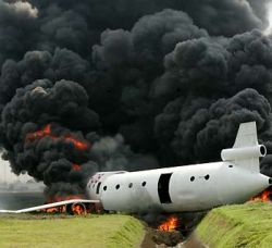 plane crash and black smoke