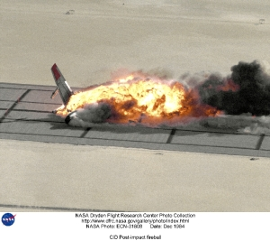 Plane on fire after accident